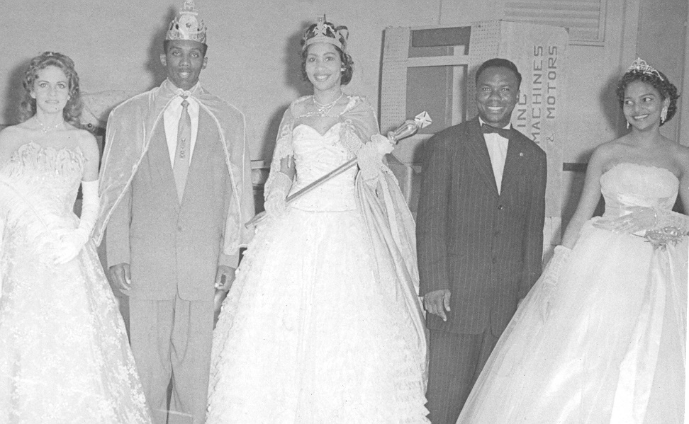 King Leader, Claudina Bagnal and Basil Henderson with two queen contestants 1958